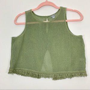 🌷Aerie | AEO | Army Green Knit Tassel Crop Top